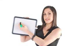 Bedrijfs Vrouw met kleine whiteboard Stock Fotografie