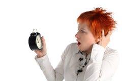 Bedrijfs vrouw met klok. royalty-vrije stock afbeelding