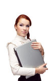 bedrijfs vrouw met laptop Royalty-vrije Stock Afbeeldingen