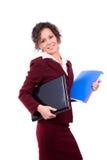 Bedrijfs vrouw met laptop Stock Foto's