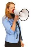 Bedrijfs vrouw met luidspreker Royalty-vrije Stock Foto's