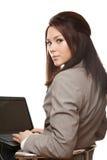 Bedrijfs vrouw met notitieboekje Stock Foto's