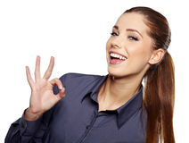 Bedrijfs vrouw met o.k. handteken Royalty-vrije Stock Afbeeldingen