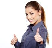 Bedrijfs vrouw met o.k. handteken royalty-vrije stock foto's