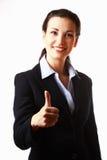 Bedrijfs vrouw met omhoog duim Royalty-vrije Stock Foto's