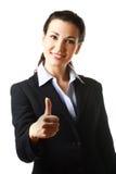 Bedrijfs vrouw met omhoog duim Stock Afbeeldingen
