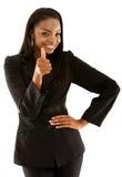 Bedrijfs vrouw met omhoog duim Stock Afbeelding