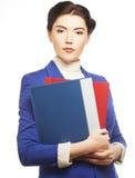 Bedrijfs vrouw met omslagen Royalty-vrije Stock Foto