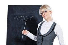 Bedrijfs vrouw met schoolbord royalty-vrije stock afbeeldingen