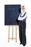 Bedrijfs vrouw met schoolbord stock foto