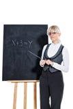 Bedrijfs vrouw met schoolbord stock afbeelding