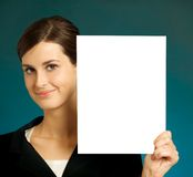 Bedrijfs vrouw met teken stock afbeelding