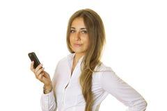Bedrijfs vrouw met telefoon Stock Afbeeldingen