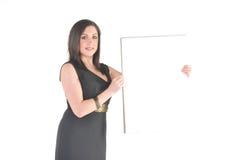Bedrijfs Vrouw met tikgrafiek Stock Foto's