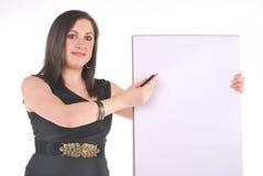 Bedrijfs Vrouw met tikgrafiek en pen Royalty-vrije Stock Afbeelding