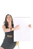 Bedrijfs Vrouw met tikgrafiek het richten Stock Afbeeldingen
