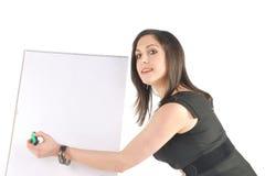 Bedrijfs Vrouw met tikgrafiek het richten Stock Foto's