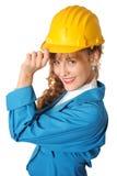 Bedrijfs vrouw met veiligheidshoed Stock Afbeeldingen