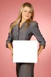 Bedrijfs vrouw met wit blad royalty-vrije stock foto's