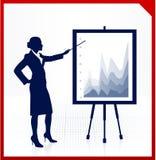 Bedrijfs vrouw op achtergrond met financiële grafieken Stock Foto