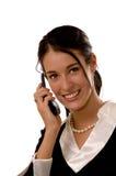 Bedrijfs vrouw op een mobiele telefoon Stock Afbeeldingen