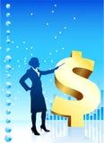 Bedrijfs vrouw op financiële grafieken als achtergrond Royalty-vrije Stock Fotografie