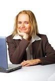 Bedrijfs vrouw op het werk Stock Foto's