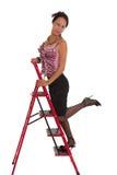 Bedrijfs vrouw op Ladder Stock Fotografie