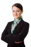 Bedrijfs vrouw op witte achtergrond royalty-vrije stock afbeeldingen