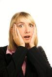 Bedrijfs vrouw in paniek Stock Foto