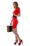Bedrijfs vrouw in rood Stock Foto