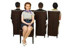 Bedrijfs vrouw uit menigte stock foto