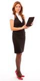 Bedrijfs vrouwen die een aanrakingsstootkussen gebruiken Stock Fotografie