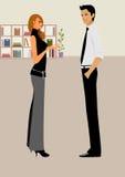 Bedrijfs vrouwenbespreking met een bedrijfsman in bureau Stock Foto's