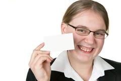 Bedrijfs vrouwenholding businesscard Stock Afbeeldingen