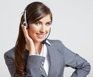 Bedrijfs vrouwenportret dat op wit wordt geïsoleerd¯ Stock Foto's