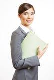Bedrijfs vrouwenportret dat op wit wordt geïsoleerd¯ Royalty-vrije Stock Foto's