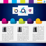Bedrijfs websitemalplaatje met kleurrijke etiketten Royalty-vrije Stock Afbeeldingen