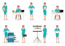 Bedrijfs werkende vrouwen in slim die kostuum op wit worden geïsoleerd vector illustratie