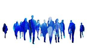 Bedrijfsachtergrond met het lopen van de silhouetten van het mensenonduidelijke beeld stock fotografie
