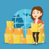 Bedrijfsarbeider van de internationale leveringsdienst Royalty-vrije Stock Afbeeldingen