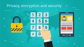 Bedrijfsbanner - Privacy, encryptie en veiligheid royalty-vrije illustratie