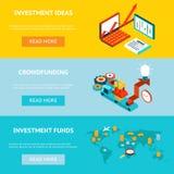 Bedrijfsbanners Crowdfunding, investeringsideeën vector illustratie