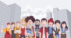 Bedrijfsbeeldverhaaljongeren in de stad vector illustratie