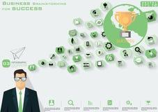 Bedrijfsbrainstorming voor succes die het moderne Idee en Concepten Vectormalplaatje van illustratieinfographic met pictogram, me royalty-vrije stock foto's