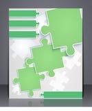 Bedrijfsbrochure met elementen van raadsels. Stock Fotografie