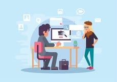 Bedrijfsbureausamenwerking vector illustratie
