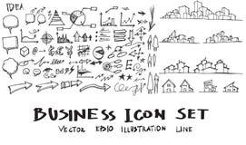 Bedrijfscityscape krabbels vectorillustratie eps10 Stock Afbeeldingen