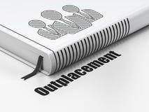Bedrijfsconcept: boek Bedrijfsmensen, Outplacement op witte achtergrond Stock Foto's