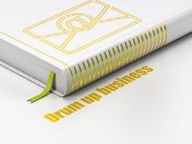 Bedrijfsconcept: boek E-mail, Trommel op zaken op witte achtergrond Stock Foto's